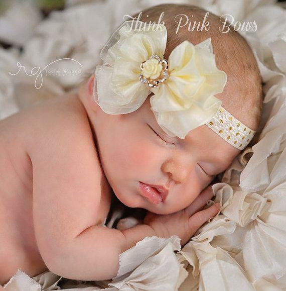 Ivory baby Hedband,Baby Headbands,Baby Bow Band,Newborn headband,Baby girl Headband,Organza Bow Heeadband, Christening headband, Baby Bows.