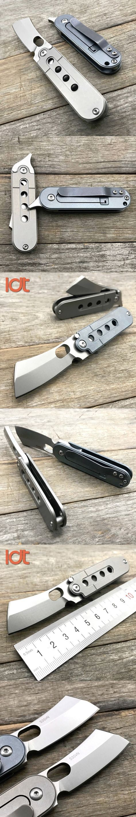 LDT Titanium Handle Bean Butcher Folding Knives S35VN Blade Clever Survival Pocket Knife Ball Bearing Camping Knife Tools EDC