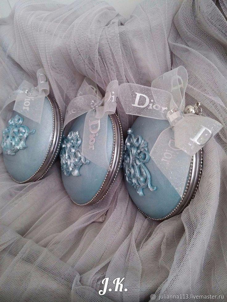 """Купить Новогоднее украшение """" Мой Диор"""" - серебро, новогодние игрушки, бирюзовый, елочное украшение"""