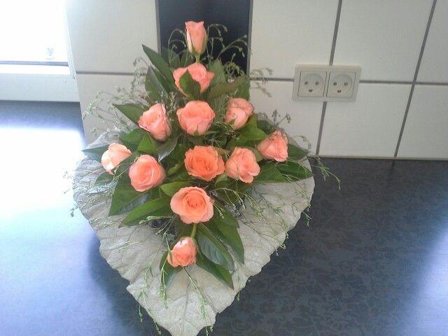 Betonblad med roser