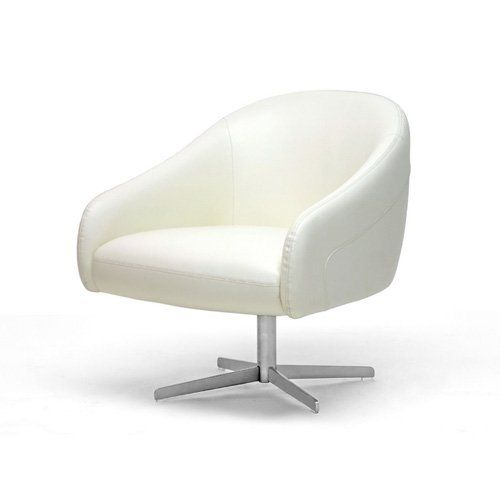 baxton studio leather modern swivel club chair from