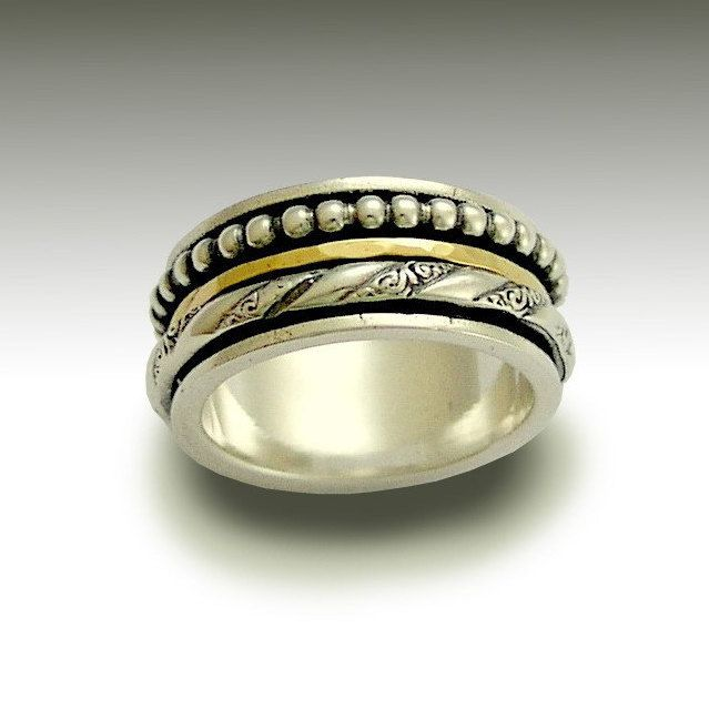 Fabulous Dotted ethnic Gold spinner band Wide Unisex Band Sterling silver and yellow gold