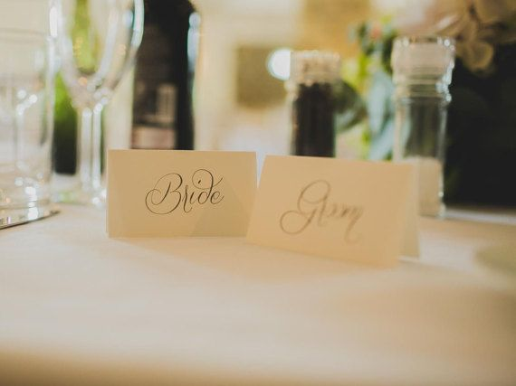 sample only wedding place cards calligraphy table name folded textured card script font