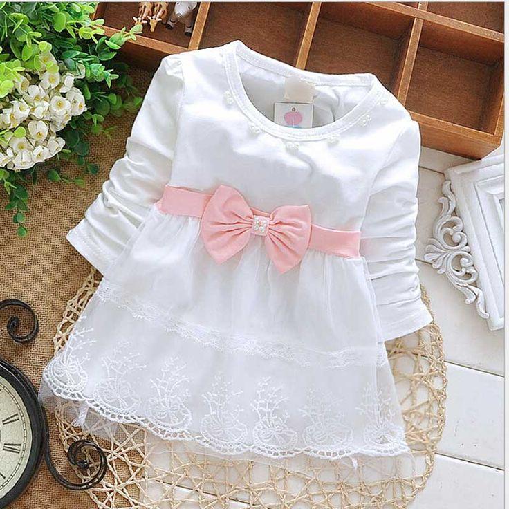Thời trang Thu Dài Tay ren Nơ dễ thương Bên bé cô gái Sinh Nhật trẻ em Trẻ Em dresses, công chúa trẻ sơ sinh dress s1853