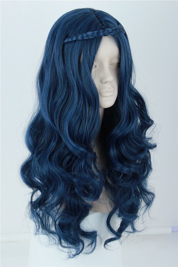Women s Evie Wig Long Blue Wave Cosplay Costumes Wigs for Descendants 2 Wig  Long Evie e01c933a7
