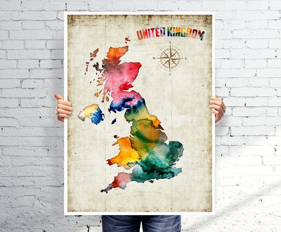 UNITED KINGDOM map  - Watercolor map - Art print - POSTER on Etsy, £15.58