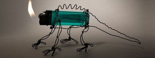 Terry Border---uses metallic wires and other scrap metals and objects to create art.