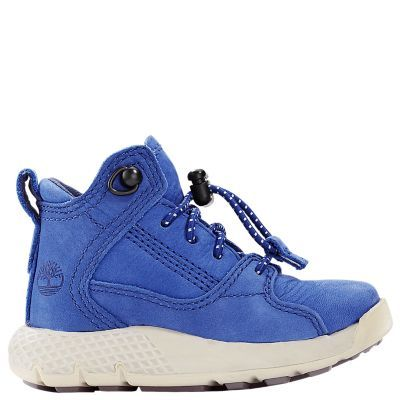 Timberland Toddler FlyRoam Leather Hiker Boots Blue Nubuck
