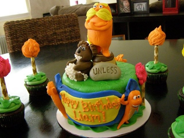 """""""The Lorax"""" themed Birthday Cake and Cupcakes..Gluten Free!"""