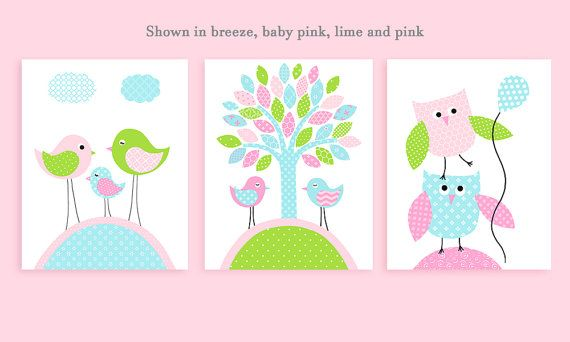 Aqua Pink Green Nursery Art Bird Nursery Owl by SweetPeaNurseryArt