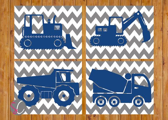 Instant Download Boys Construction Equipment Trucks by scadesigns