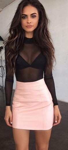 #summer #tigermist #outfits | Black Mesh bodysuit + Pink PU Skirt
