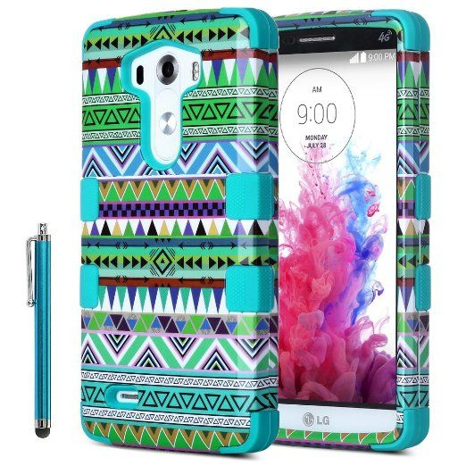 Amazon.com: LG G3 Case, ULAK 3-Pieces Hybrid High Impact Pink Tribal Hard Case for LG G3,Design Premium Heavy Duty Defender Hybrid Phone Cover for LG G3 with Screen Protector + Stylus (Blue): Cell Phones & Accessories