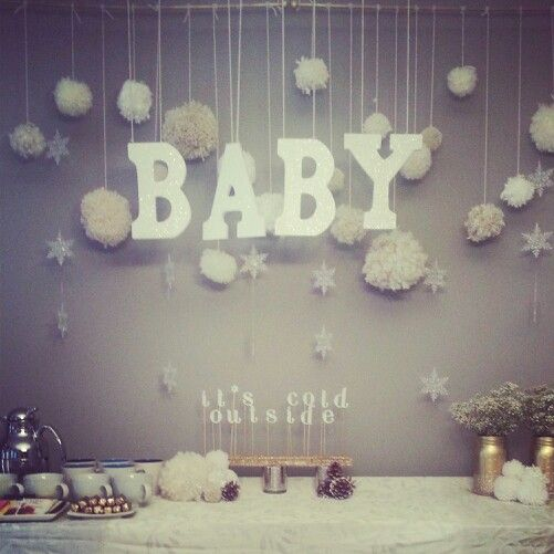 Baby, it's cold outside! Baby shower! Yarn balls, glittered letters, gold spray painted mason jars with gold glitter