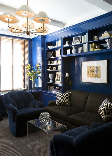 blue room: Blue Paintings Colors, Living Rooms, Amanda Nisbet, Built In, Blue Wall, Cobalt Blue, Interiors Design, Lacquer Wall, Accent Wall