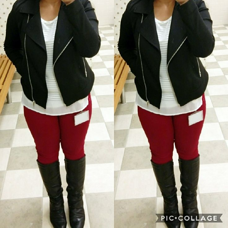 Moto blazer with striped  tee and red skinny jeans #outfitoftheday
