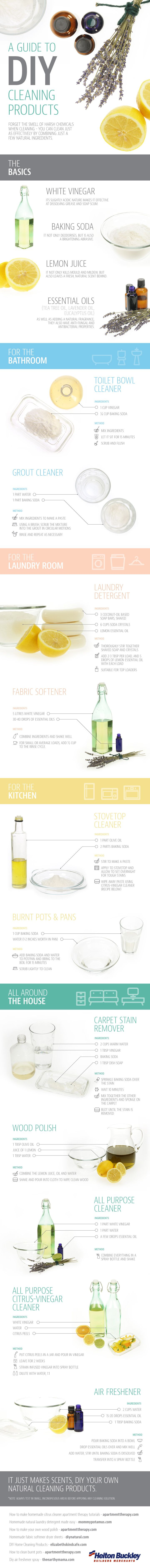 A Guide to #DIY Cleaning Products: Cleaners that contain strong chemicals and disinfectants pose health risks for people & pets, & when they're washed down the drain, they contaminate our waterways & soil. Help the environment and wildlife by making your own #green products that are just as effective as store-bought options.