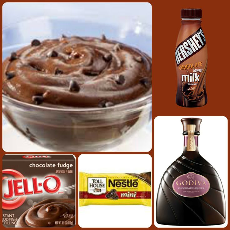 Death By Chocolate Pudding Shots 1 small Pkg. Chocolate Fudge pudding (instant, not the cooking kind) ¾ Cup Chocolate Milk ¾ Cup Chocolate Liqueur, Creme De Cacao or Chocolate vodka  1/2 Cup Mini chocolate chips 8oz tub Cool Whip  Directions 1. Whisk together the milk, liquor, and instant pudding mix in a bowl until combined. 2 . Add cool whip a little at a time with whisk. 3.Add chocolate chips 4.Spoon the pudding mixture into 1 or 2 ounce cups with lids. Freeze for at least 2 hrs.