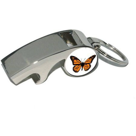 Monarch Butterfly, Plated Metal Whistle Bottle Opener Keychain Key Ring, Silver