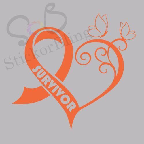 Cancer SURVIVOR Ribbon Heart Butterfly Vinyl Decal Sticker Truck Car Laptop