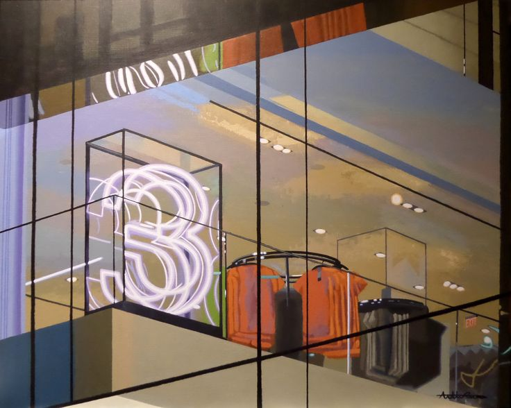 "3rd floor, 2017, acrylic on wood panel, 60 x 75 cm, 23,1/2 x 29,1/2"". By Antti Rytkönen"