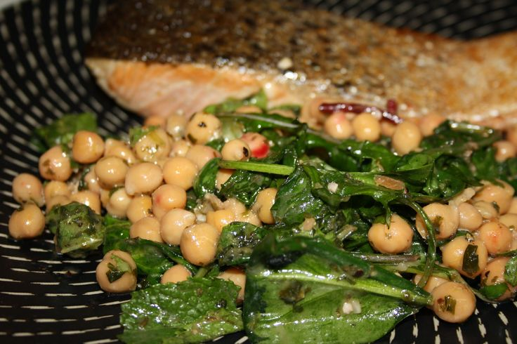 Fried Salmon with Warm Chickpea, Herb and Rocket Salad from the book ...