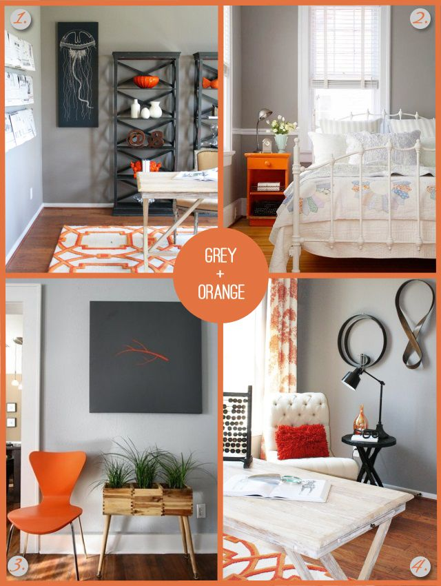 grey and orange home decor