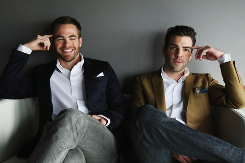 Kirk & Spock  Down to the pocket squares and wrists and legs, they are the perfect complement. Like any good Captain and First Officer should be. Also they're very attractive, which makes the movies even more enjoyable to watch ;)