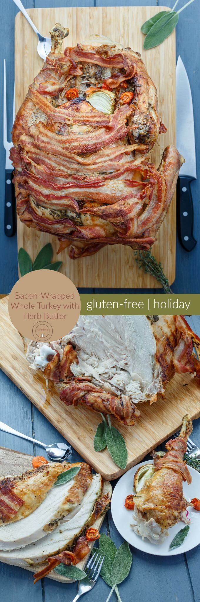 Bacon-Wrapped Whole Turkey with Herb Butter | http://thecookiewriter.com | @thecookiewriter | #turkey | Looking for an awesome main dish this holiday season (Thanksgiving and Christmas?!) Try this gluten-free recipe!