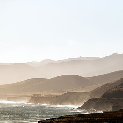 Surf and mountains near Highway 1 in Santa Barbara County.