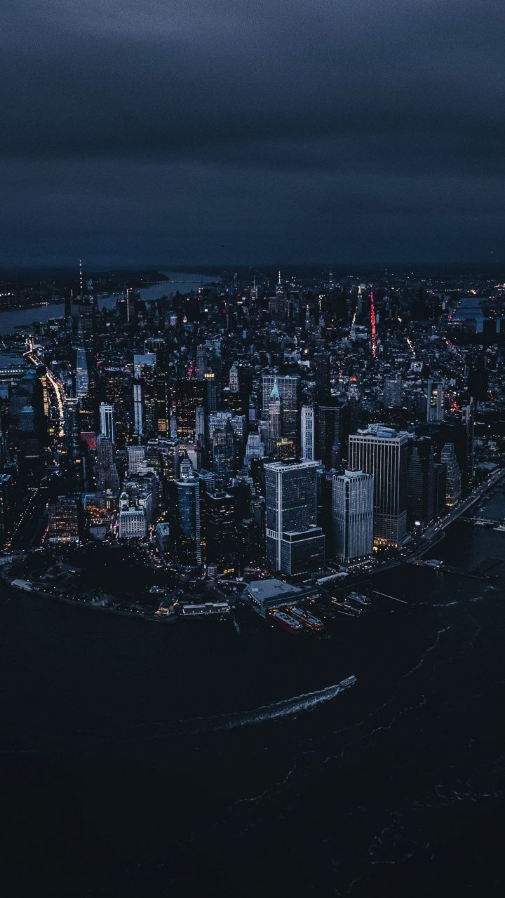 New york, city, aerial view, night, buildings, 720x1280 wallpaper