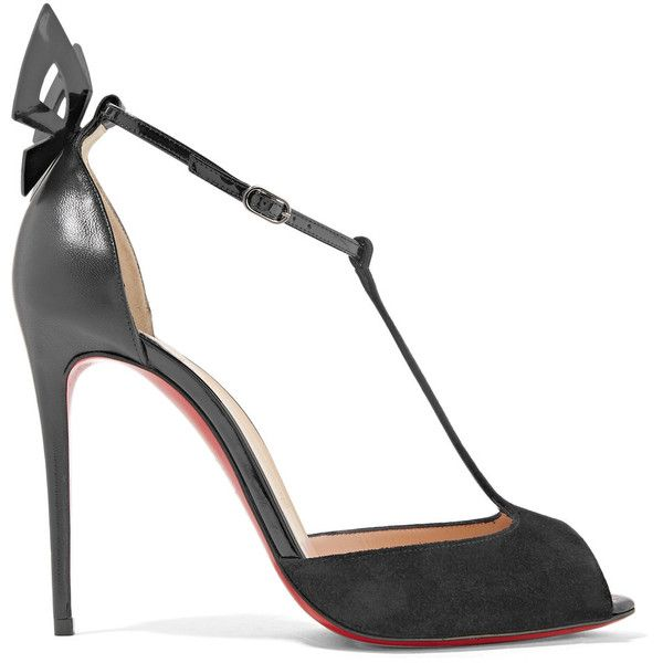 Christian LouboutinAribak 100 Bow-embellished Leather And Suede T-bar... ($895) ❤ liked on Polyvore featuring shoes, sandals, black, ribbon sandals, leather bow sandals, leather t strap sandals, christian louboutin shoes and leather sandals