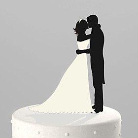 Taarttoppers Niet-persoonlijk Klassiek Koppel acryl Trouwdag / Bruidsshower / Bruiloft Zwart Tuin Thema 1 OPP