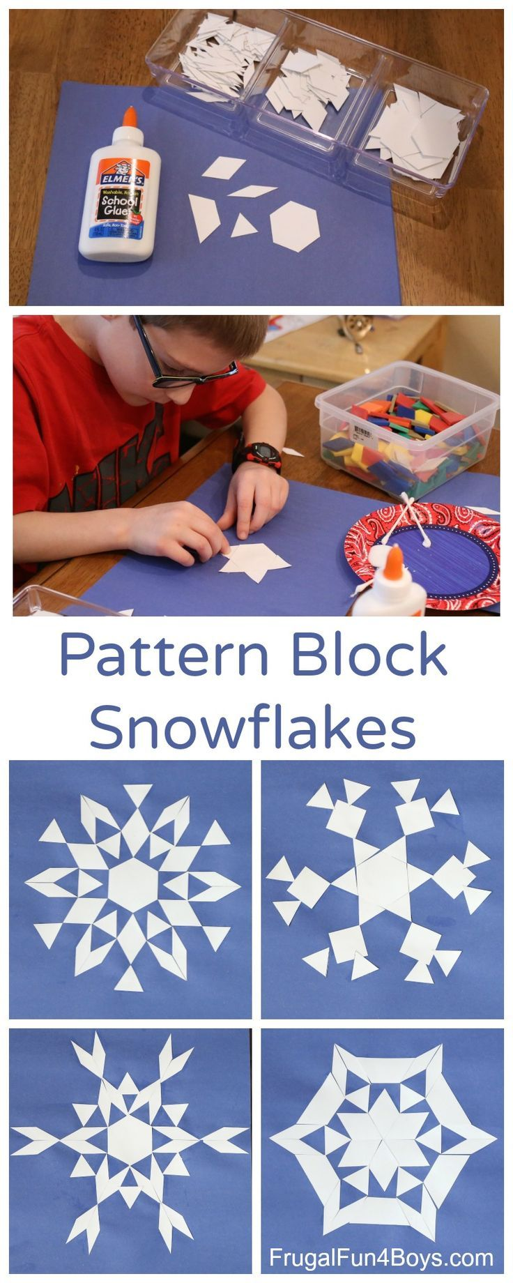 Math Art: Make Pattern Block Snowflakes. Awesome geometry activity for kids of all ages.