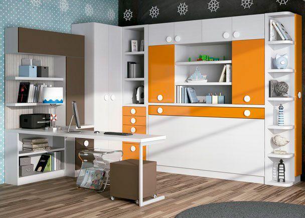 Dormitorio juvenil con cama abatible con libreria maletero y armario