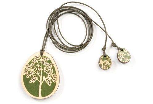 Wooden Figtree Pendant - olive