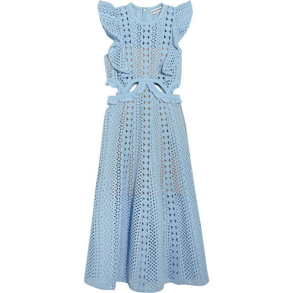 Self-Portrait Cutout guipure lace and broderie anglaise cotton dress (500 AUD) ❤ liked on Polyvore featuring dresses, sky blue dress, blue polka dot dress, mini dress, blue lace dress and short lace cocktail dress