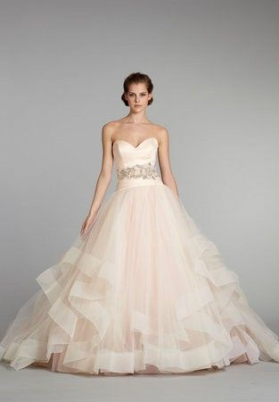 blush wedding dress- I love the skirt!` not that I'm getting married again...I just think it is pretty!