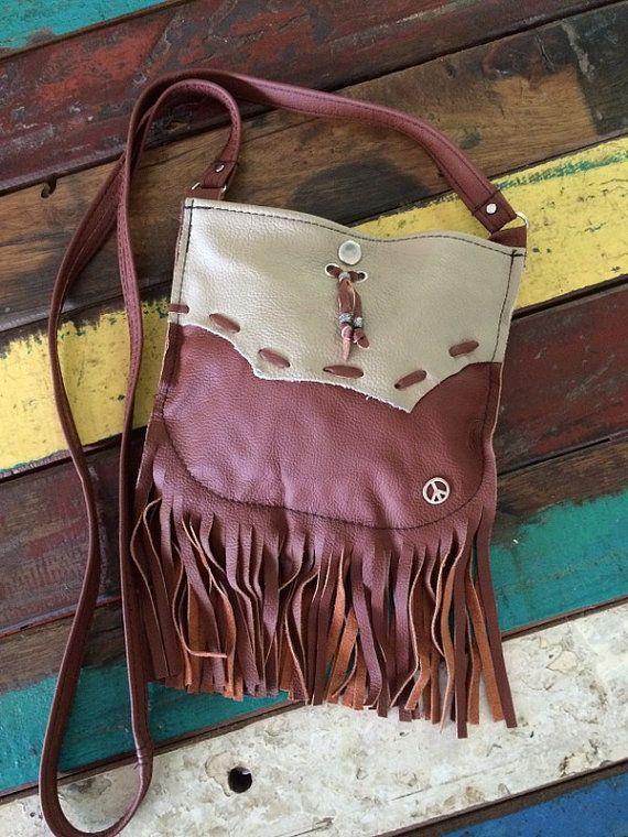 Small Hippie Gypsy Leather Crossbody Peace by HippieGypsybyCherie