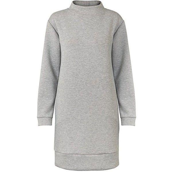 Grey Stockholm Sweat Dress | Oliver Bonas ($99) ❤ liked on Polyvore featuring dresses, olive green dresses, gray dresses, olive dress, army green dress and grey dresses