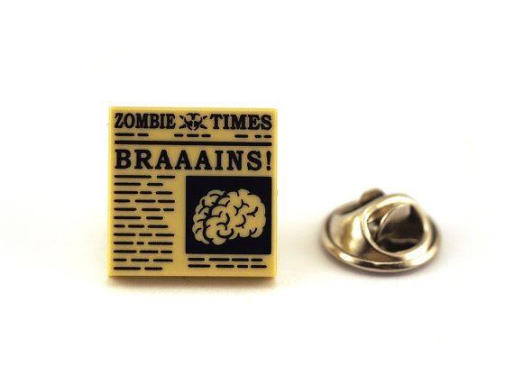 Zombie Times Brains Tie Pin Tie Tack Pin Men's Tie by Pinhero