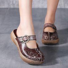 Nice Etnische Stijl Lederen Vrouwen Zomer Schoenen Handgemaakte Sandalen Wiggen Slides Metalen Gesp Vrouwen Platform Slipper(China)