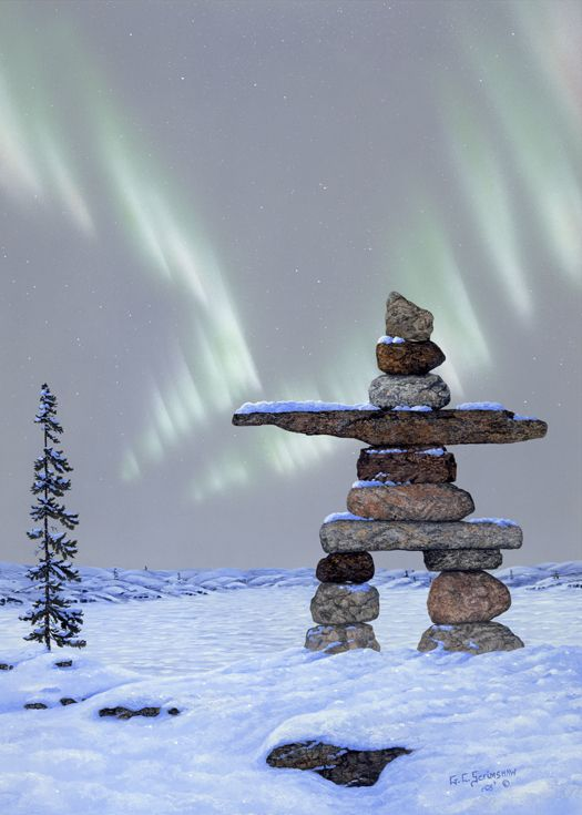 "Glen Scrimshaw ""Guiding Lights"" Inukshuk"