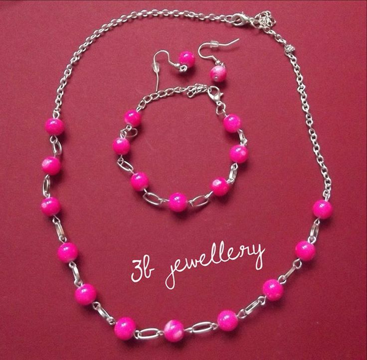 #deep #pink #set of #necklace #bracelet and #earrings for young and adult with young souls #3bjewellery #wirewrapping #beginner