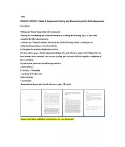 """Writing and Researching Skills Self-Assessment  Writing and researching are essential elements to teaching and learning. Early in this week, complete the following exercises:  a. Review the """"Research Guides"""" section in the Ashford Writing Center to assist… (More)"""