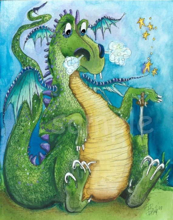 Dragon  Kids wall art Lite Snack 8x10 print by bealoo on Etsy, $15.00
