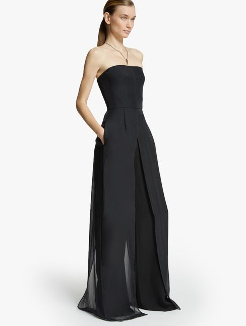 So many more possibilities than just putting on a boring necklace like this one.  |  Halston Heritage Halston Heritage Chiffon Overlay Strapless Jumpsuit: Dramatic movement takes form in this chic strapless jumpsuit with chiffon overlay and pocket detail.