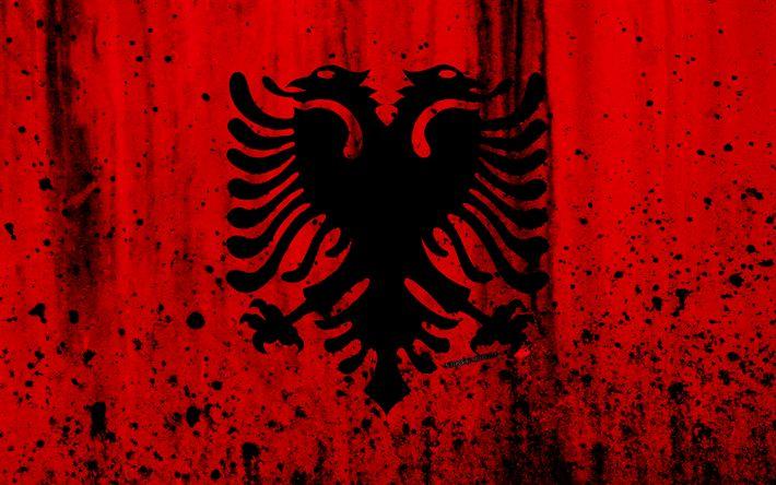 Download wallpapers Albanian flag, 4k, grunge, flag of Albania, Europe, Albania, national symbolism, coat of arms of Albania, Albanian coat of arms