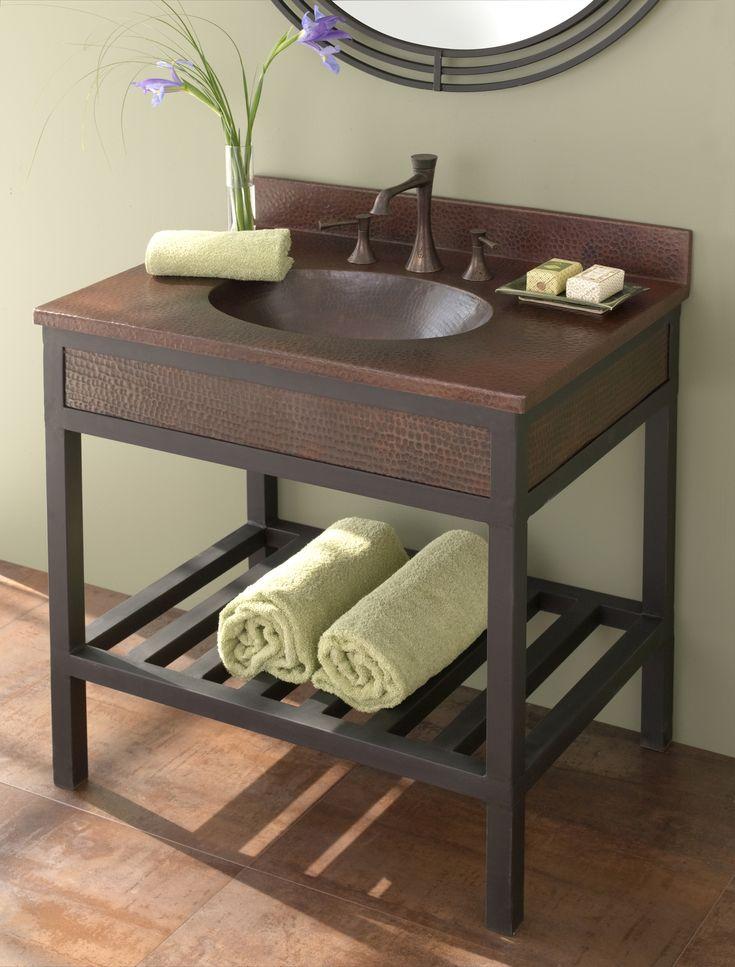 Best HomeBathroom Sinks Images On Pinterest Bathroom Ideas - Bathroom vanity with copper sink for bathroom decor ideas
