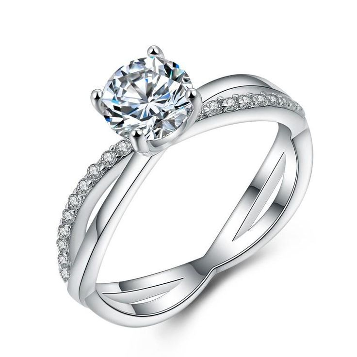 Pave Setting Zircon Silver Couple Rings